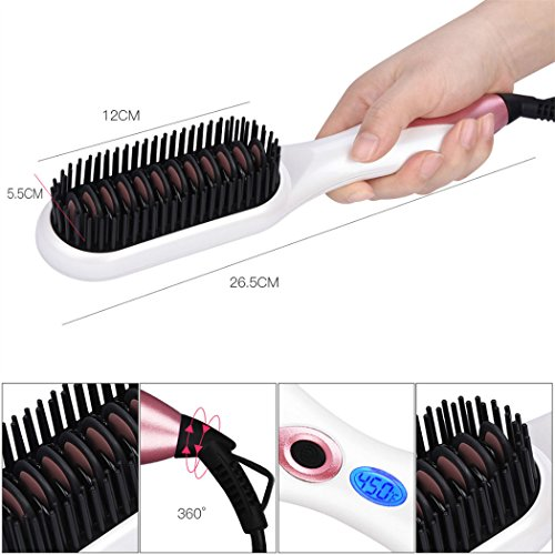 Hair Straightener Brush, inkint Ceramic Hair Straightening Brushes for Women with LED Temperature Display Anti-scald Auto-off Function for All Hair Types and Length by inkint (Image #5)