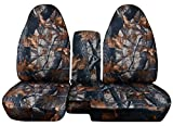 1998-2003 Ford Ranger/Mazda B-Series Camo Truck Seat Covers (60/40 Split Bench) with Center Console/Armrest Cover: Gray Real Tree Camouflage (16 Prints) 1999 2000 2001 2002 w/wo Cup Holders