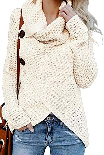 Astylish Womens Turtleneck Cowl Neck Button Asymmetric Wrap Fall Loose Knit Pullover Sweater Coat Outerwear Large Size 12 14 White ()
