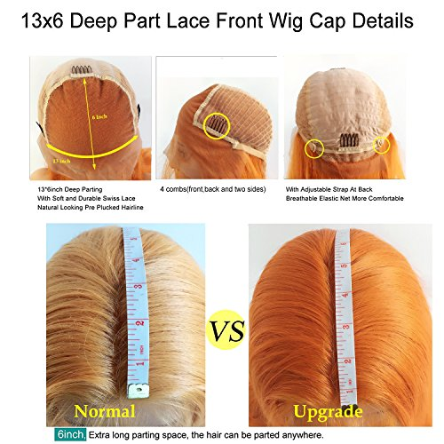 FUHSI Kanekalon Fiber 13×6 Inch Lace Real Natural For Women – Soft & Smooth, Straight Lace Front Wig, Elastic Straps, Comfortable & Adjustable –Color 103# Blonde 250D 22'' by FUHSI (Image #5)