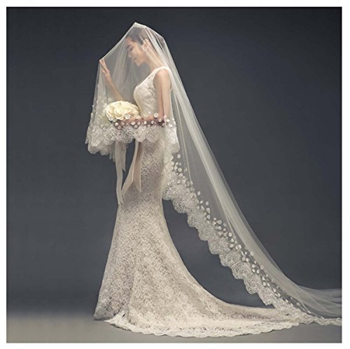 AliceHouse Women's 1 Tier Flower lace Cathedral Chapel Wedding Veils 11068 Ivory