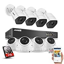 ANNKE 8CH Video Security System 3-Megapixel (1920x1536) DVR Video Recorder 2TB HDD and (8) FULL HD 3MP 3.6mm Wide Angle Weatherproof Outdoor Cameras, Motion Detection, Email Alert, Remote Access