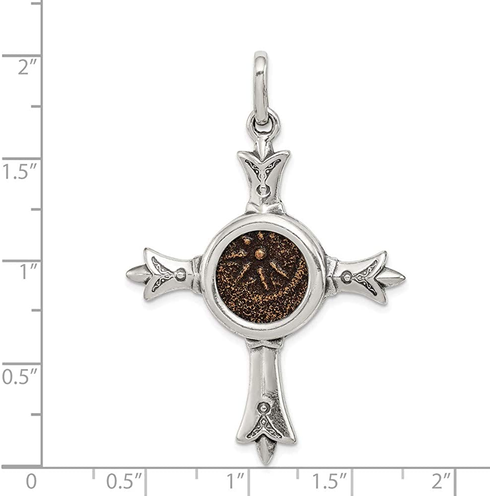 Mireval Sterling Silver Antiqued Widows Mite Coin Cross Pendant