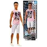 Fashionistas Barbie Year 2017 Series 12 Inch Doll Set #17 - Hispanic Ken FJF75 in Pink Cali Cool California Tops and White Shorts