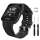 Garmin Forerunner 35 Watch Band, MoKo Soft Silicone Replacement Watch Band Sport Bracelet Strap with 6pcs Screws and 2pcs Screwdrivers for Garmin Forerunner 35 GPS Running Smart Watch, Black