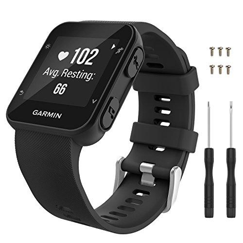 MoKo Garmin Forerunner 35 Watch Band, Soft Silicone Replacement Watch Band Sport Bracelet Strap with 6pcs Screws and 2pcs Screwdrivers for Garmin Forerunner 35 GPS Running Smart Watch, Black
