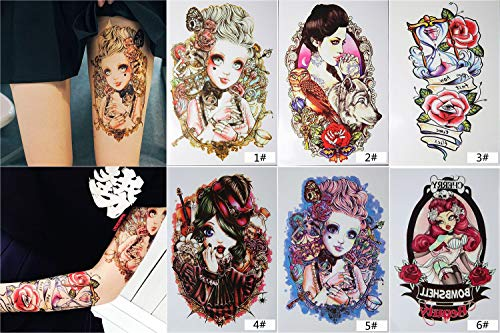 CHDHALTD 6 Temporary Tattoos for Women and Girls, Waterproof Temporary Cute Princess Tattoo Large Tattoo Stickers Body Art for Adults and Teens - Great on Thigh Arms and Lower Legs -