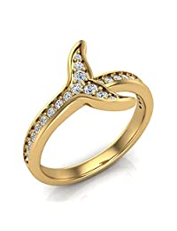 0.26 ct tw Fish-Tail Design Shank Eternity Band Wedding Ring 18K Yellow Gold (Ring Size 8)
