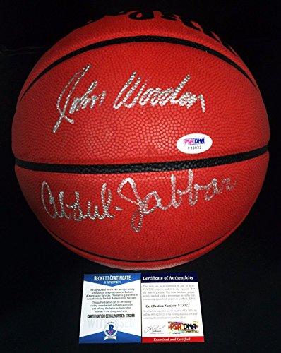 John Wooden And Kareem Abdul-Jabbar Signed Wilson NCAA Basketball *UCLA BAS - PSA/DNA Certified - Autographed College Basketballs
