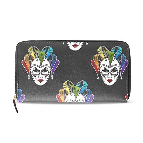 Sunlome Rainbow Venetian Canrnival Mask Print PU Leather Long Wallets Zipper Clutch Ladies Purse Wallet for Women Girl