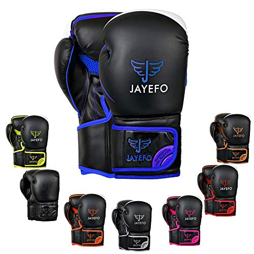 Jayefo Glorious Boxing Gloves Muay Thai Kick Boxing Leather Sparring Heavy Bag Workout Pro Leather Gloves Mitts Work for Men & Women (Black/Blue, 6 OZ)