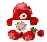 TiedRibbons® Teddy Bear with Artificial Rose and Greeting Card | Anniversary gifts for Couple | Wedding Anniversary gifts for Wife | Anniversary gifts for Couple | Wedding Anniversary gifts for Husband