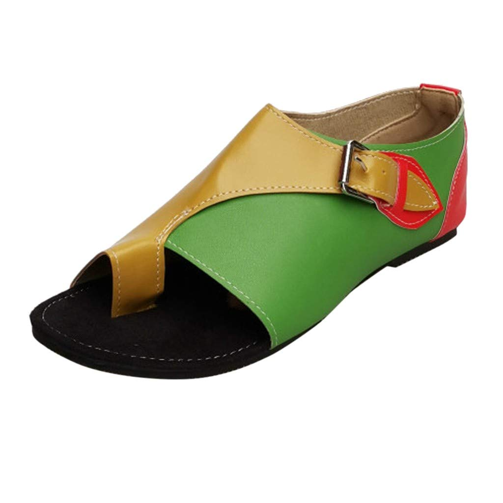 Women Open Toe Summer Sandal Roman Style Flat Sandals Leisure Soft Shoes with Buckle Strap for Casual, Party, Beach, Entertainment (Green, US 5.5(Shoes Length))