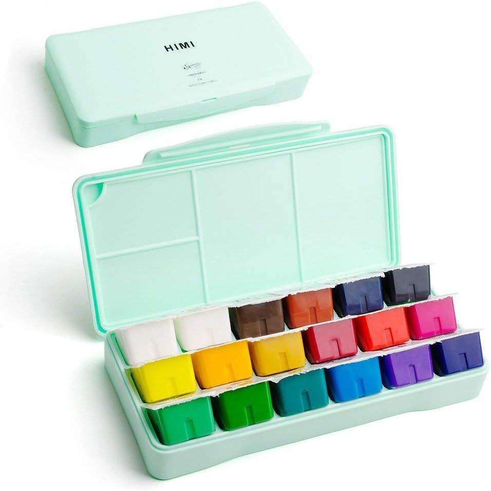 Kit de pintura Miya Gouache, 18 colores x 30 ml Juego de pintura Diseño exclusivo de taza de gelatina con gouache en estuche portátil, perfecto para óleo, pintura acrílica y más (verde