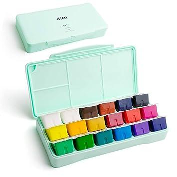 Kit de pintura Miya Gouache, 18 colores x 30 ml Juego de pintura Diseño exclusivo de taza de gelatina con gouache en estuche portátil, perfecto para ...