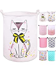 """PFONB 19.7"""" Large Collapsible Laundry Basket,Waterproof Sturdy Canvas Round Clothes Hamper Home Organizer, Gift Basket.(Miss Kitty)"""