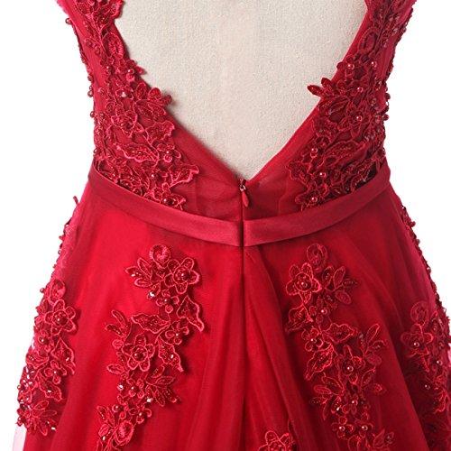 Brautjungfer Kleid LuckyShe Cocktail Ballkleider Spitze Gelb Schulterfrei Party Abendkleider Elegant Lang Promkleider Tüll 18q1pgPnS