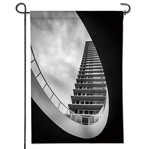 Cheap  SCOCICI1588 Summer Garden Flag Double-sided,modern architecture apartment with cloudy sky Great Design..