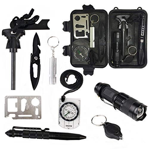 10 in 1 Emergency Survival Kits, CHANGKU Multi Professional Outdoor Survival Tools for Traveling Hiking Camping Biking Climbing Hunting