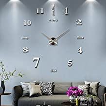 Modern Frameless DIY Wall Clock Large 3D Wall Watch Non Ticking for Living Room Bedroom Kitchen (Silver)