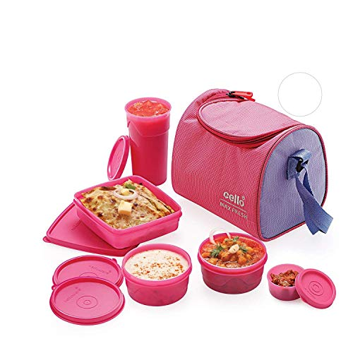 Cello Max Fresh Sling 5 Container Lunch Box With Bag, Pink