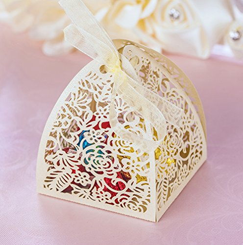 YOZATIA 50pcs Laser Cut Rose Gift Boxes with 50 Ribbons, 2.6''x2.6''x2.8'' Favor Boxes for 16 Birthday Party Wedding Favor (Ribbon Wedding Favor Decor)