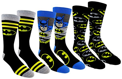 DC Comics Mens Batman Casual Crew Socks 3 Pair Pack (One Size, Batman 3)