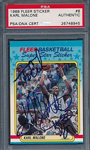 1988/89 Fleer Sticker #8 Karl Malone Certified Authentic Auto *8945 - PSA/DNA Certified - Basketball Slabbed Autographed -