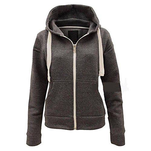 Damen-Plain zip Hoodie/Jacke - auch in Plus-Größen erhältlich Dunkelgrau 3JTpK