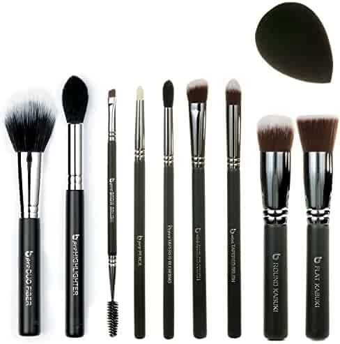 f2b581e2e0c Best of Beauty Junkees 10pc Makeup Brush Set Includes Flat Top Kabuki,  Round Kabuki,