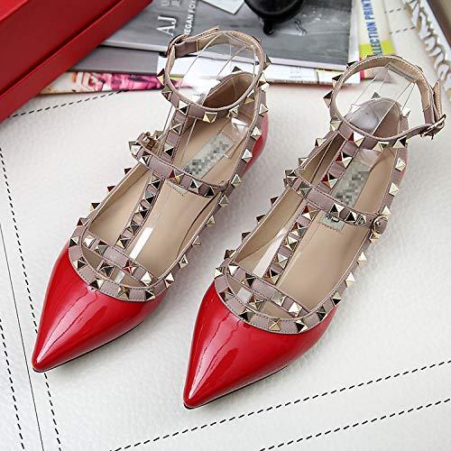 AIMENGA Vendaje gules Zapatos Puntiagudos Superficiales Planos Zapatos Zapatos Zapatos Sueltos Mujer De Remaches De Z4ZrFqw