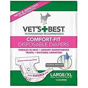 Vet's Best Comfort Fit Dog Diapers | Disposable Female Dog Diapers | Absorbent with Leak Proof Fit | Large/X-Large, 12 Count