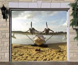 Single Garage Door Covers Airplane Banner 3D Effect Print Decor Garage Door Plane Full Color Billboard Mural Made in the USA Size 83 x 96 inches DAV160