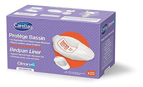 Carebag Bedpan Liner with Super Absorbent Pad, 20 Liners