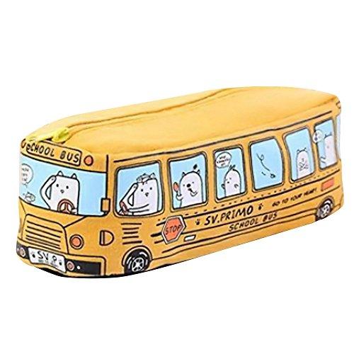 NszzJixo9 New Canvas tudents Kids Cats School Bus Pencil case Bag Office Stationery Bag (Yellow)