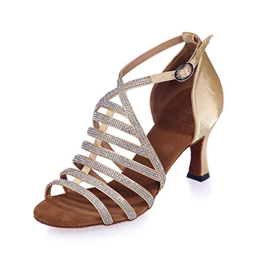 Latin Gold artificial YC Shoes L 24a 8349 Leather Dance Ballroom with arch Women Diamond Customizable Z466Y