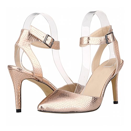 Meijunter Damen Frau Krokodil Muster Stitching Hohl Stiletto High Heels Single Schuhe Copper