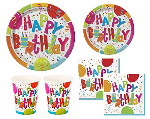Happy Birthday Party Plates - Jamboree Birthday Party Supplies Pack for 16 Guests - Including Dinner/Luncheon Plates, Dessert Plates, Napkins and Cups