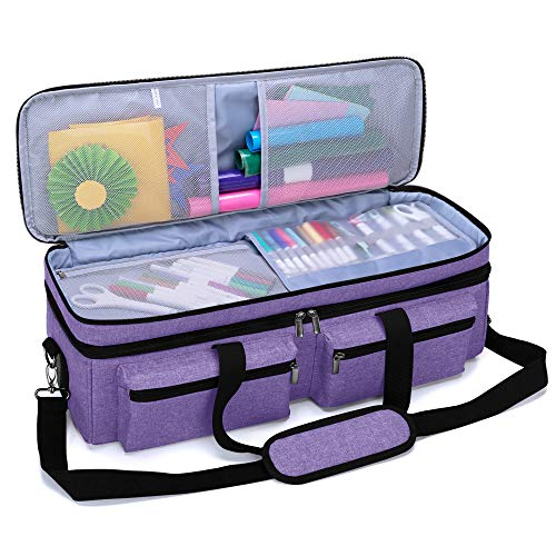 Luxja Double-Layer Bag Compatible with Cricut Explore Air (Air2) and Maker, Carrying Bag Compatible with Cricut Die-Cut Machine and Supplies (Bag Only, Patent Pending), Purple