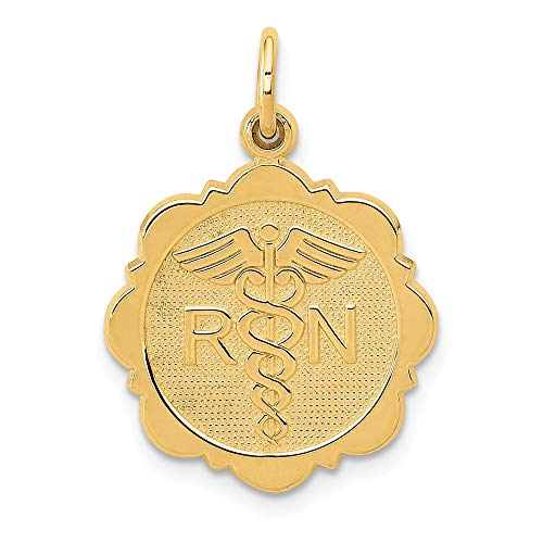 Solid 14k Yellow Gold Registered Nurse Disc Charm Pendant (25mm x 15mm)