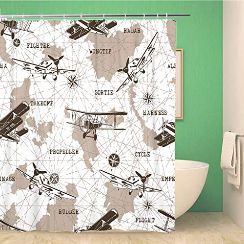(Awowee Bathroom Shower Curtain Pattern Planes Map Airplane Air Vintage Army Aircraft Aviation Polyester Fabric 72x78 inches Waterproof Bath Curtain Set with Hooks)