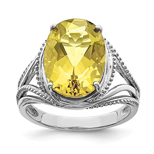 Sterling Silver Rhodium Oval Lemon Quartz - Ring Lemon Oval Quartz