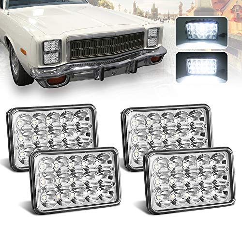 (4pcs) 4x6 inch LED Headlights Rectangular Replacement H4651 H4652 H4656 H4666 H6545 for Peterbil Kenworth Freightinger Ford Probe Chevrolet Oldsmobile Cutlass (Kenworth Truck Parts)