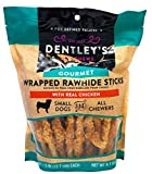 Dentley's Gourmet Wrapped Rawhide Sticks Dog Treats - Chicken 40 Count Per Pack
