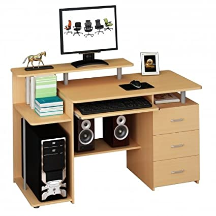 Hjh Office 673954 Table Computer Desk With Drawer Fixed Star Beech