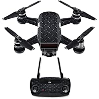 Skin for DJI Spark Mini Drone Combo - Black Diamond Plate| MightySkins Protective, Durable, and Unique Vinyl Decal wrap cover | Easy To Apply, Remove, and Change Styles | Made in the USA