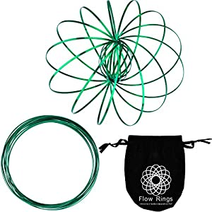 Maxdot 2 Pack Flow Ring Spinner Ring Arm Slinky Toy Interactive 3D Sculpture Ring for Kids Teens Adults Spinning Metal Globe Slides Down Arms (Green)