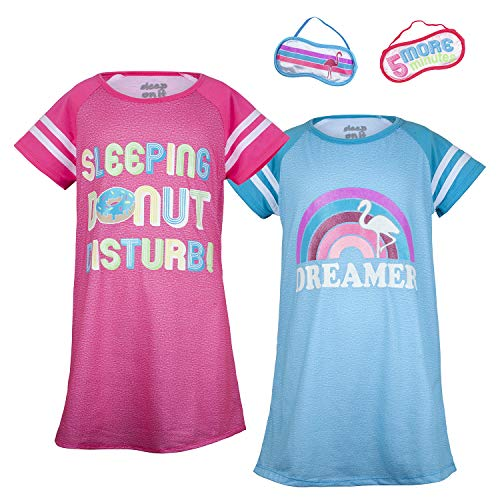 (Sleep On It Girls 4 Piece Summer Pajama Nightgown with Eye Mask Set (2 Full Sets) Pink/Blue)
