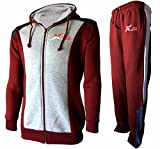 X-2 Full Zip Fleece Tracksuit Jogging Sweatsuit Activewear Hooded Gray-Maroon L