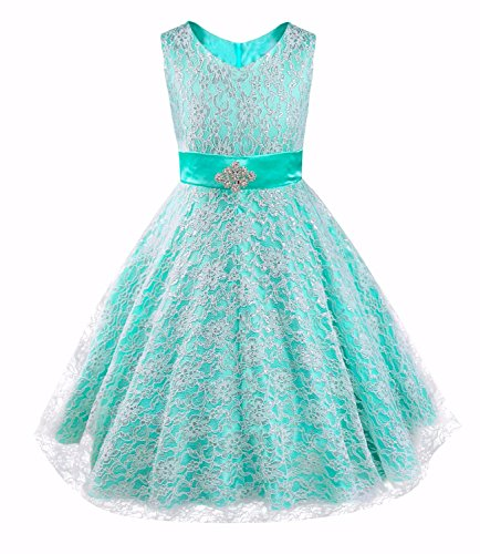 iEFiEL Kids Big Girls V-Neck Lace Flower Dress Graduation Pageant Ball Gown Turquoise 12